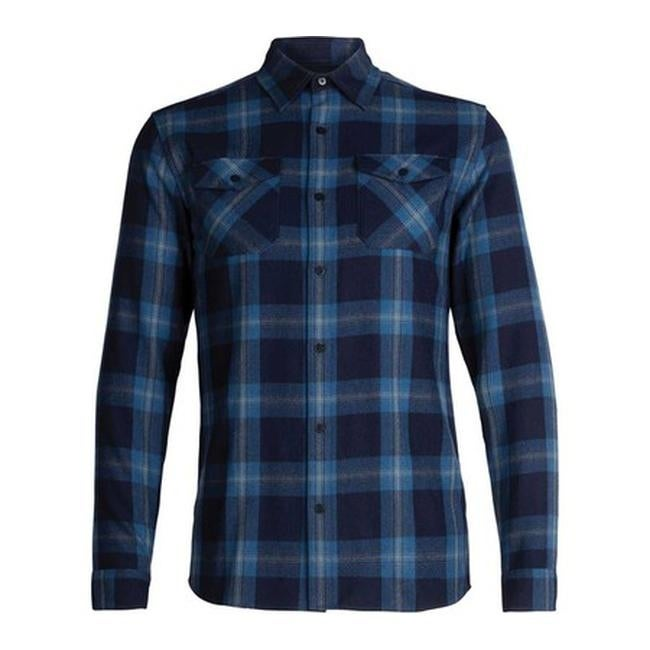 469e84a762 Shop Icebreaker Men's Lodge Long Sleeve Flannel Shirt Midnight  Navy/Prussian Blue/Plaid - Free Shipping Today - Overstock - 25668391