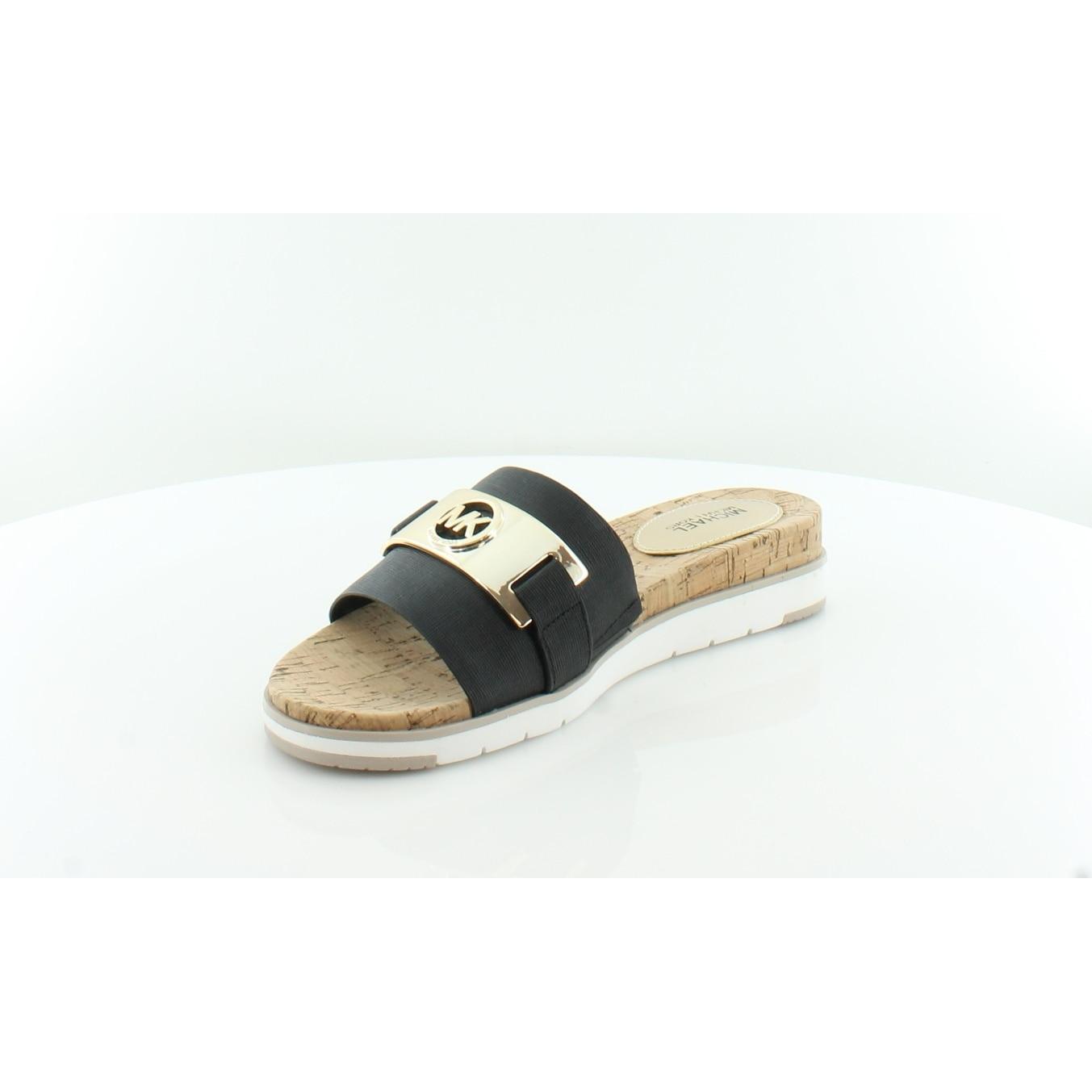c28d941a9a3a Shop Michael Kors Warren Slide Flat Sandal Women s Sandals   Flip Flops  Black - Free Shipping Today - Overstock - 21853123