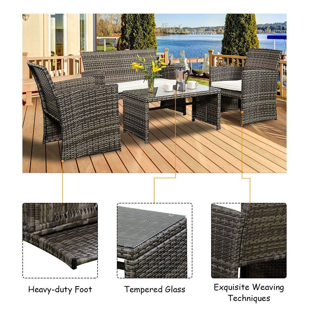 Costway 4 Pc Rattan Patio Furniture Set Garden Lawn Sofa Cushioned Seat Mix  Gray Wicker   Free Shipping Today   Overstock   22217259