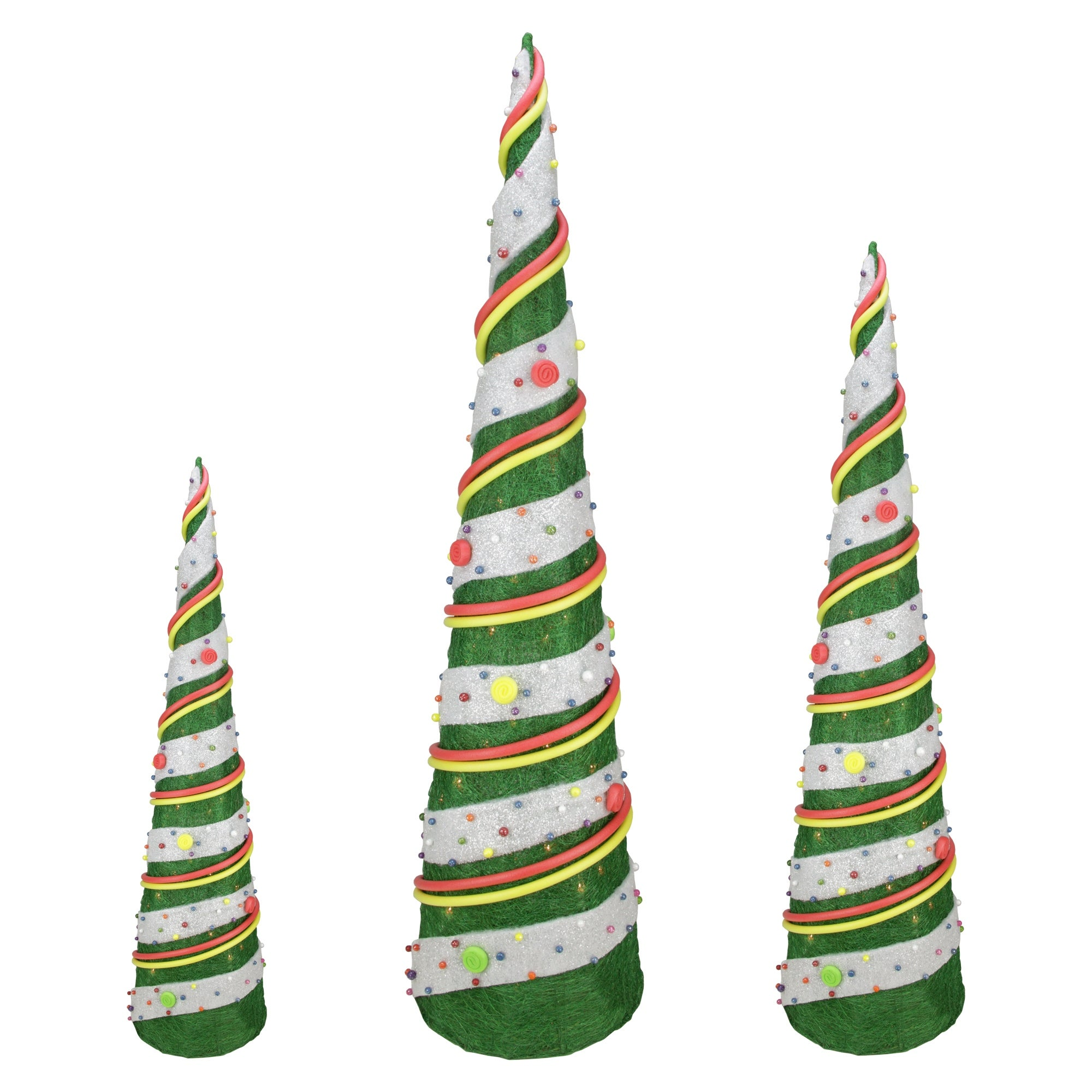 Shop Set of 3 Green Sisal Candy Covered Cone Tree Lighted Christmas Outdoor Decorations - Free Shipping Today - Overstock - 16549949