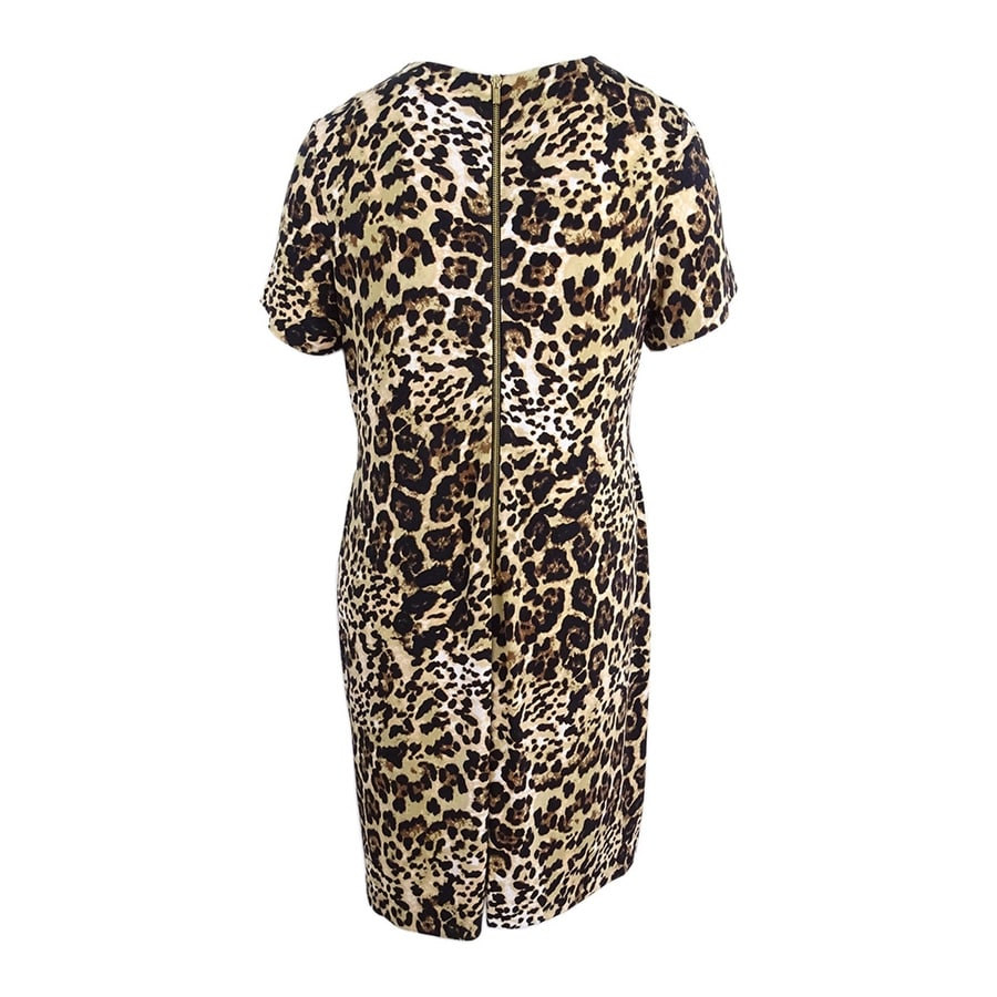f0dabffa34fe Shop Calvin Klein Women's Plus Size Leopard-Print Shift Dress - Camel Multi  - On Sale - Free Shipping Today - Overstock - 22992091