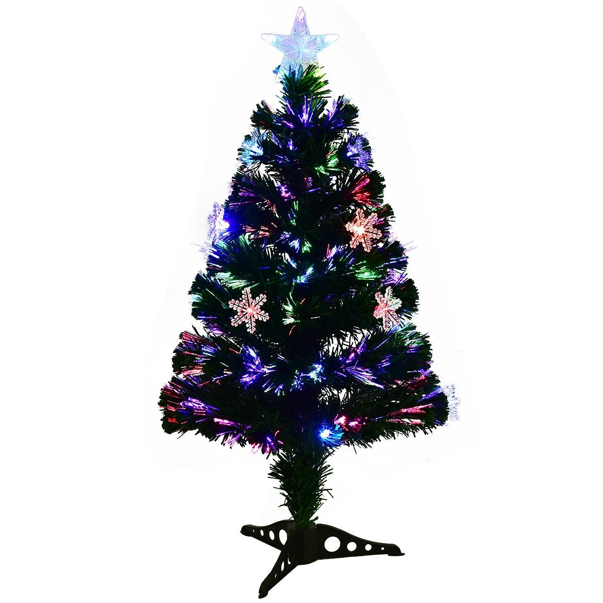 shop costway 3ft pre lit fiber optic artificial christmas tree wmulticolor lights snowflakes green free shipping on orders over 45 overstockcom