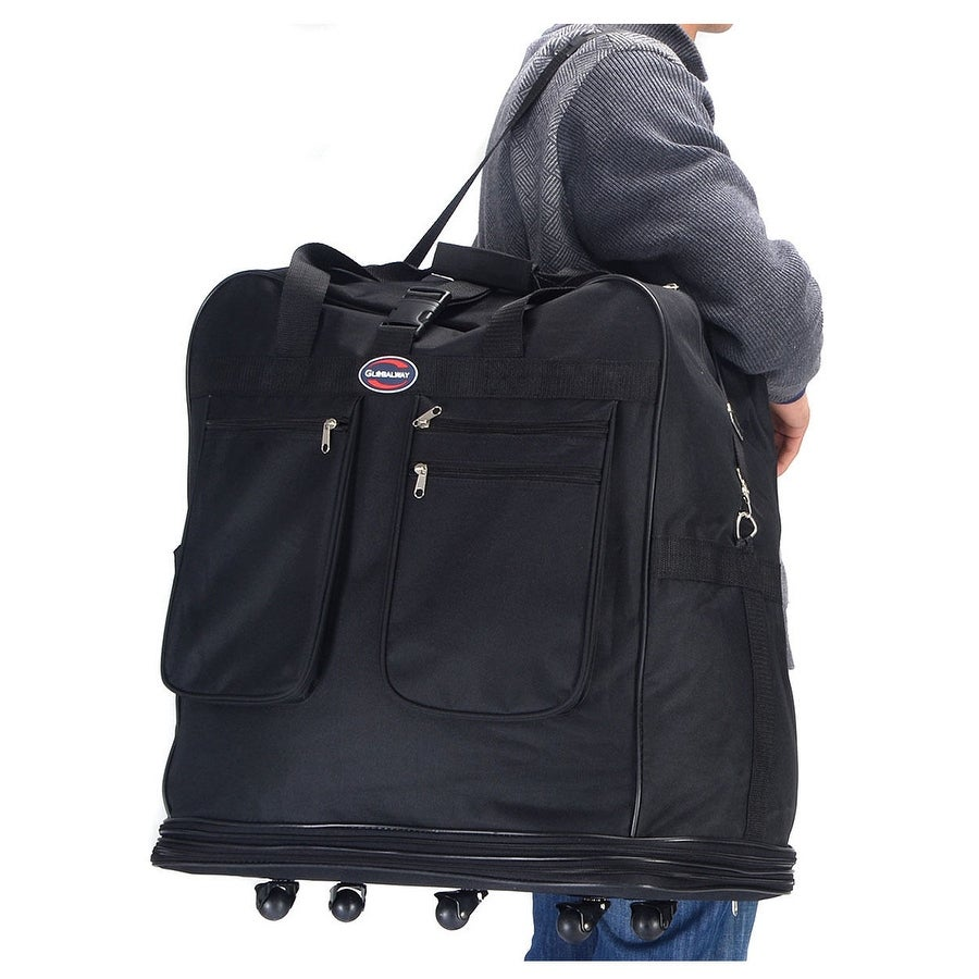 Shop Costway 40   Rolling Wheeled Duffel Bag Spinner Suitcase Spinning  Luggage Black - On Sale - Free Shipping On Orders Over  45 - Overstock.com  - 18659973 7743ff705624e