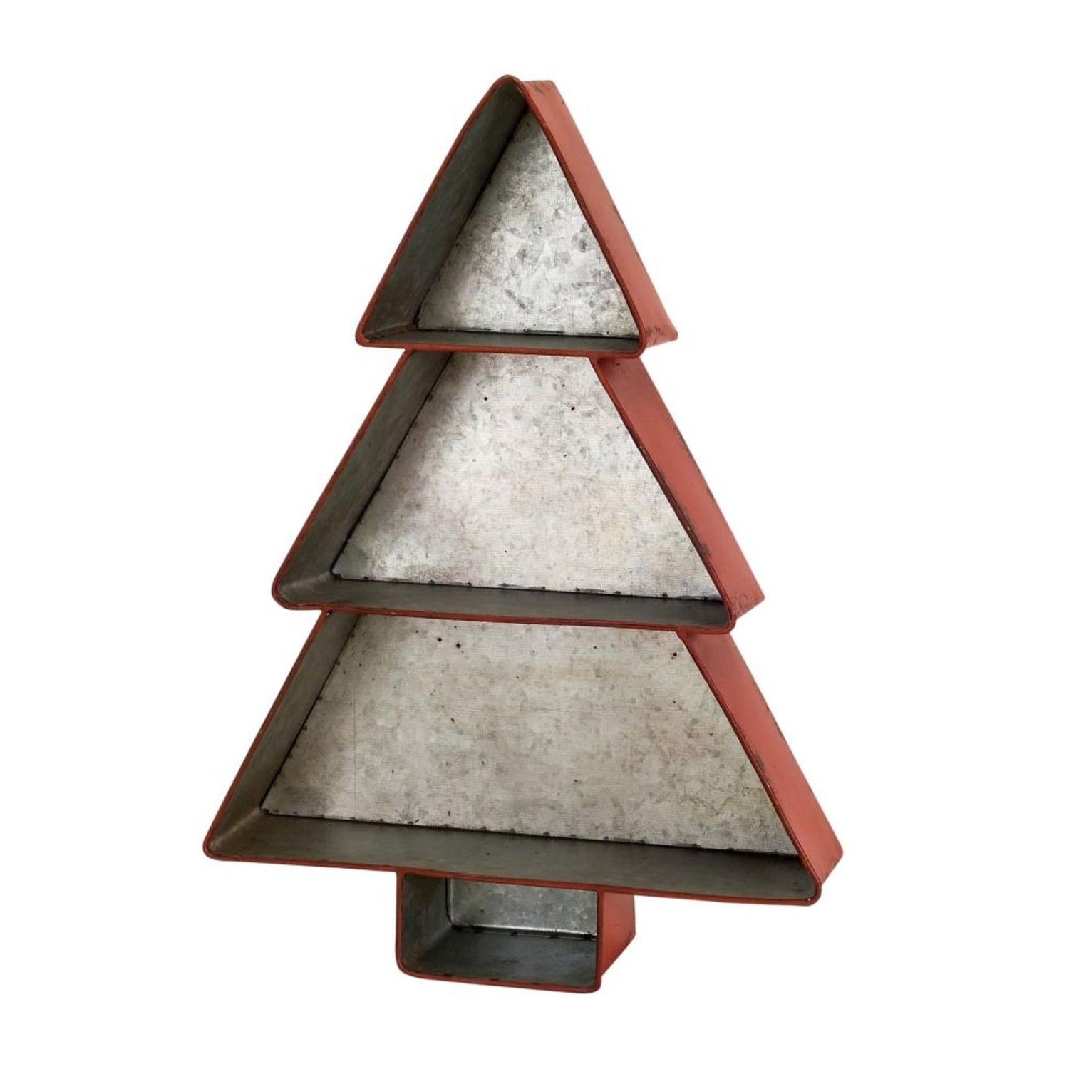 Set Of 2 Metallic And Red Rustic 3 Layer Christmas Tree Shelf 17 5 N A