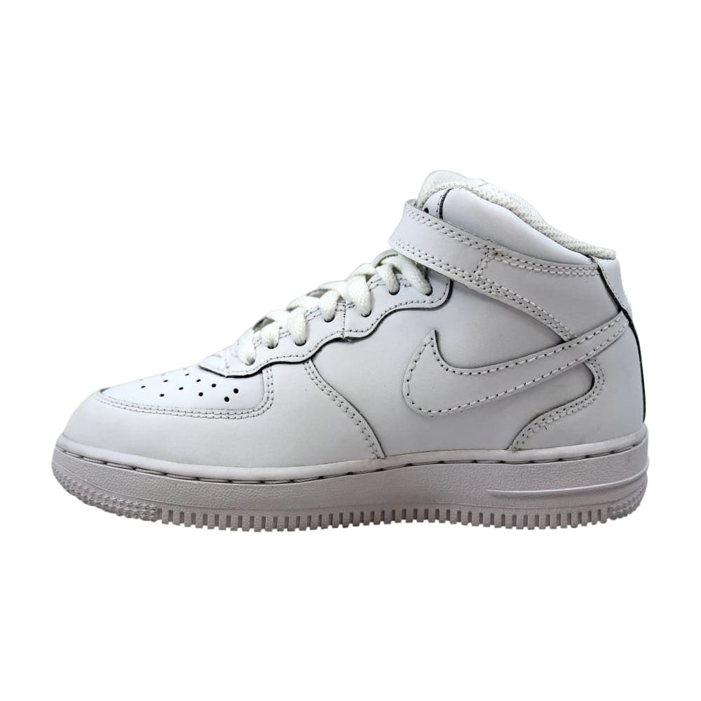 dedd5373 Nike Force 1 Mid White/White 314196-113 Pre-School
