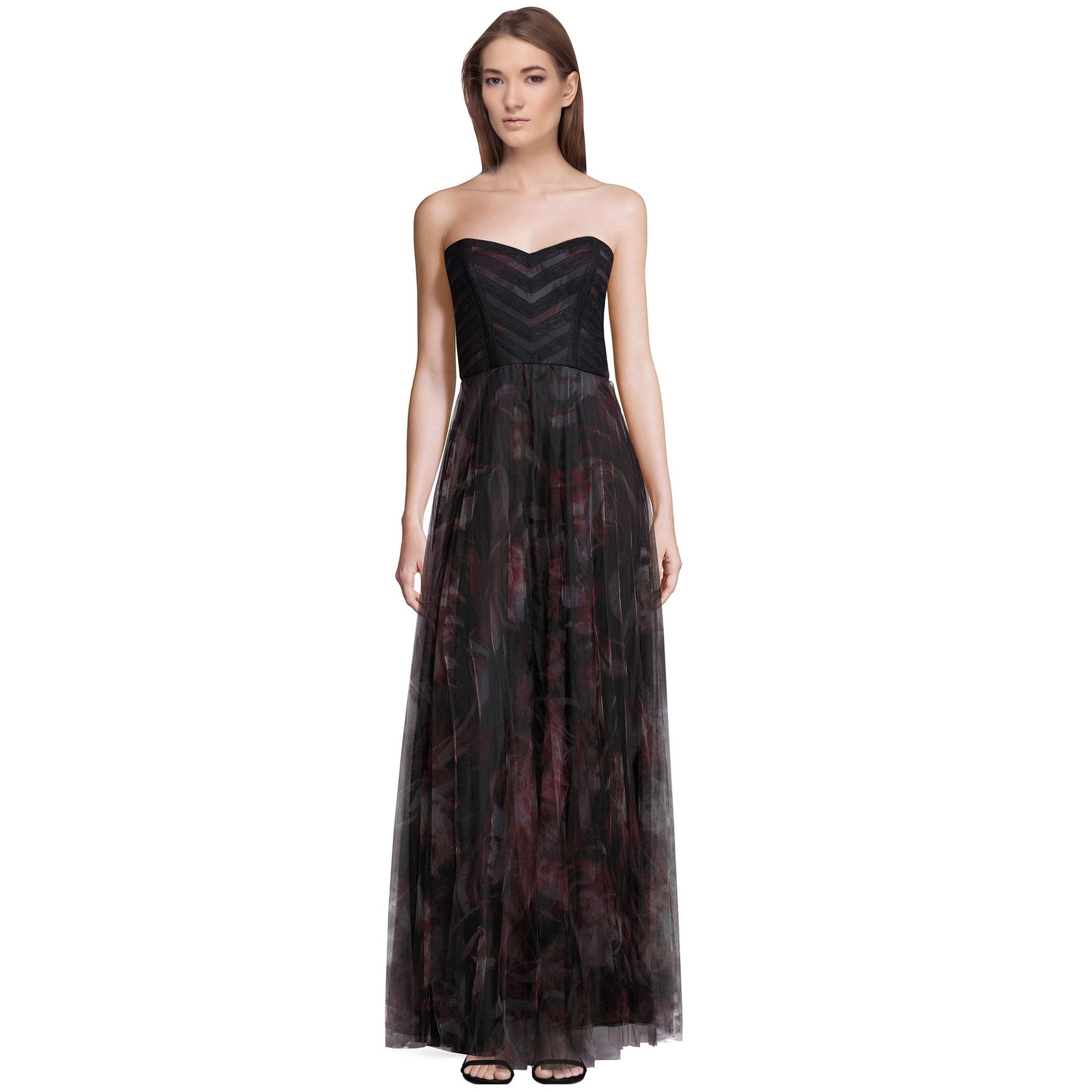 Shop Parker Black Jacquie Printed Tulle Strapless Evening Gown Dress ...