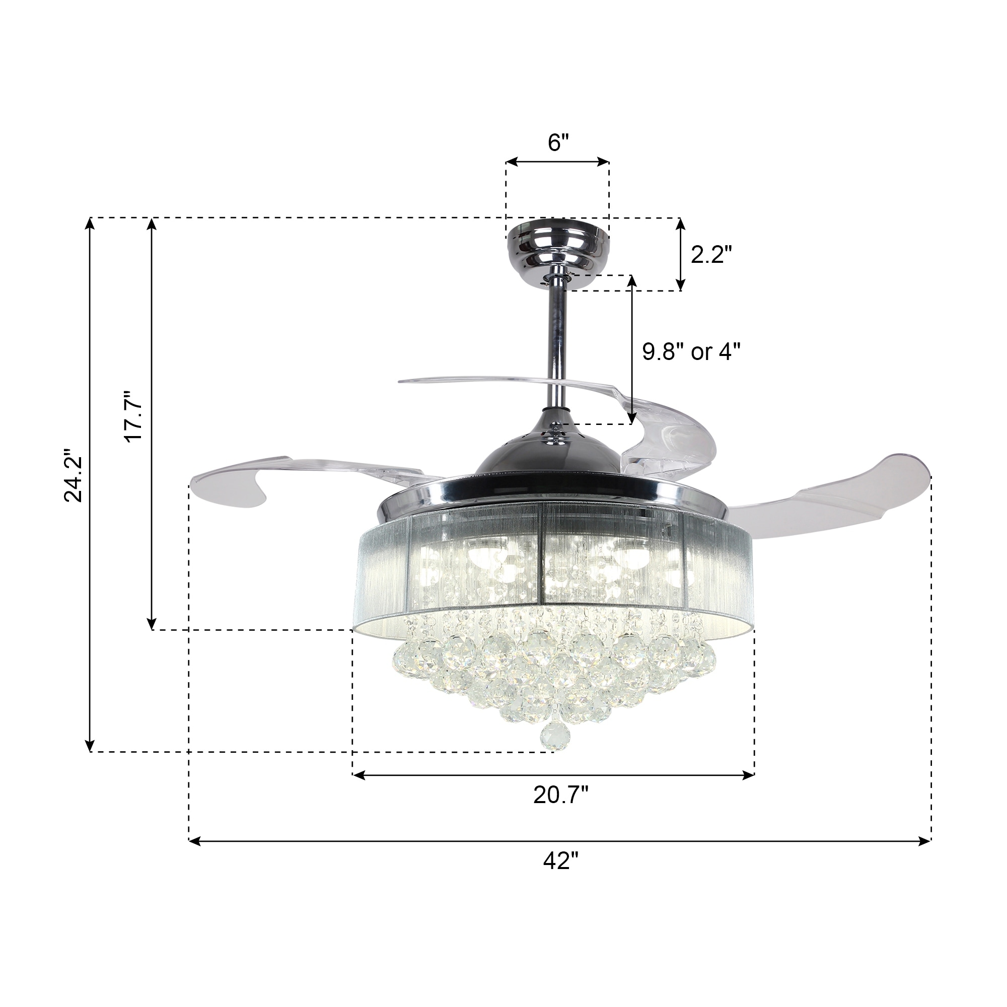 "42 5"" Foldable Blades LED Ceiling Fan with Crystal Chrome Free"