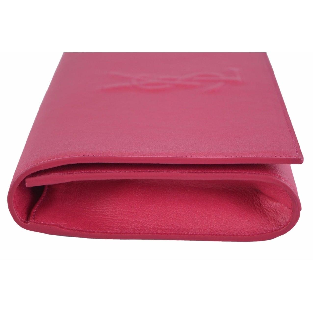 4a68d7fe96349 Shop Saint Laurent YSL 361120 Pink Leather Large Belle de Jour Clutch  Handbag - On Sale - Free Shipping Today - Overstock - 12072565