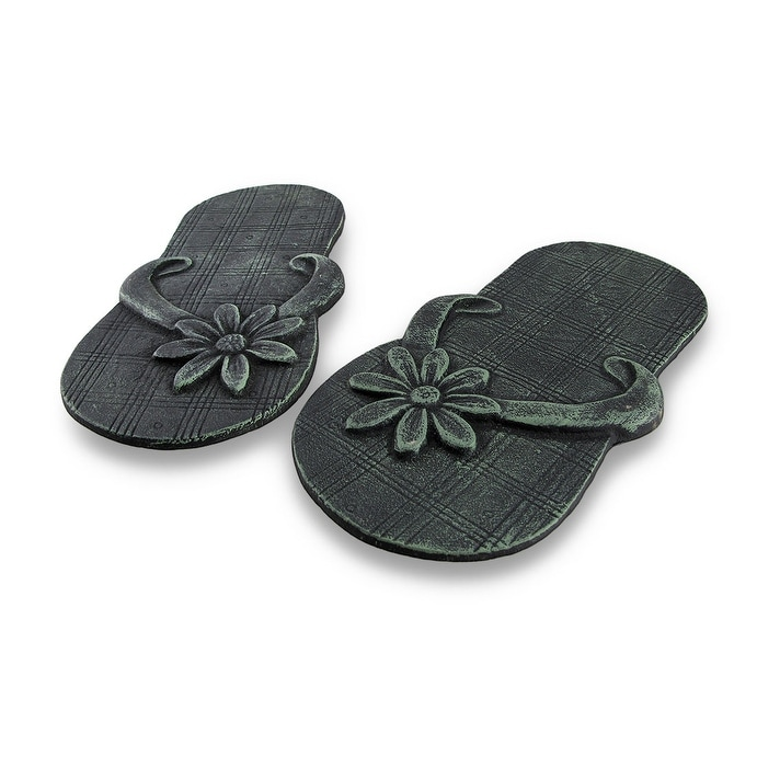 1b50a914baf4d Shop Pair of Cast Iron Flip Flop Stepping Stones Verdigris Finish - 12.25 X  6.5 X 1 inches - On Sale - Free Shipping On Orders Over  45 - Overstock -  ...