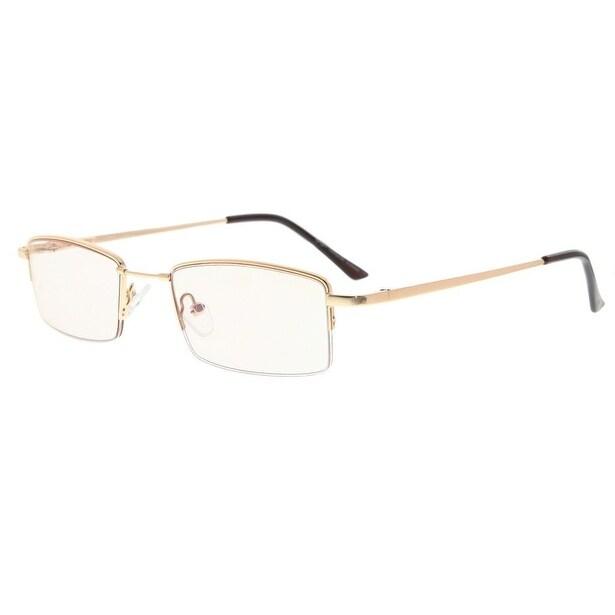 c1d221ebe647 Eyekepper Half-rim Titanium Bridge Reading Glasses Blue Light Blocking  Readers Amber Tinted Lenses(Gold
