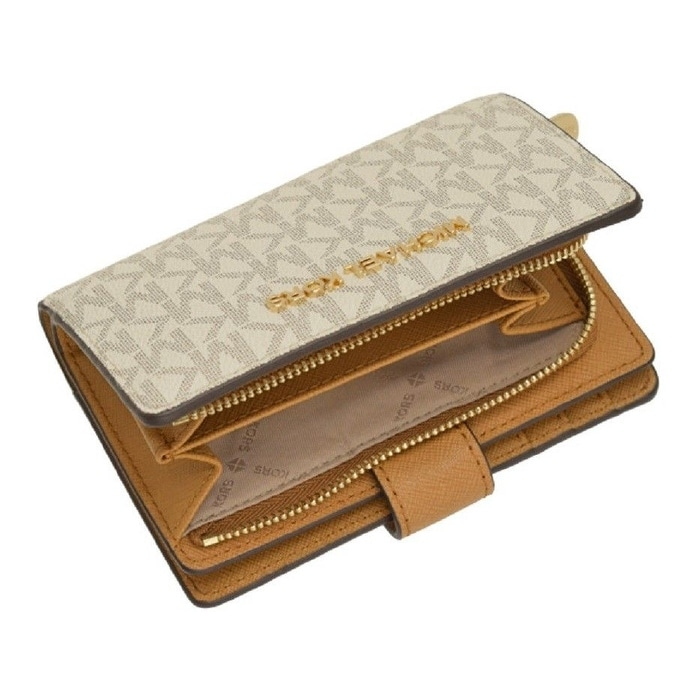 5332ce47acee Shop Michael Kors Jet Set Travel Signature PVC Bifold Zip Coin Wallet - Free  Shipping Today - Overstock - 23139704