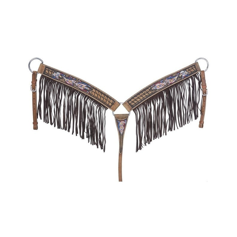 Tough-1 Breast Collar Naomi Fringe Basket Tool Feathers Brown - Overstock -  15834053