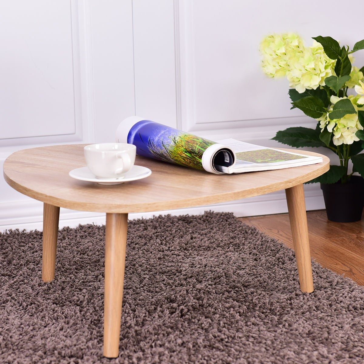 costway triangle top coffee table sofa side end accent table living