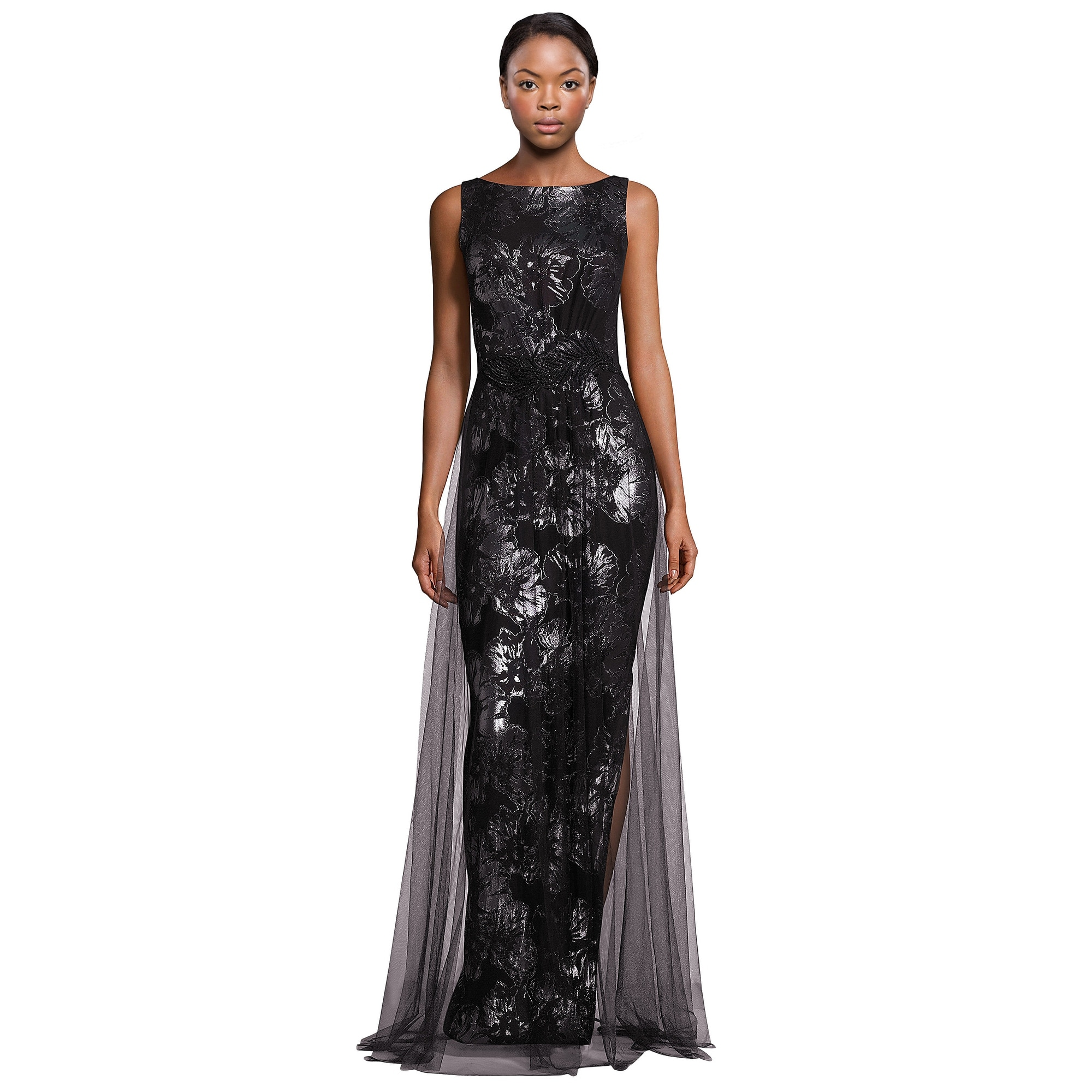 Theia Metallic Jacquard Tulle Overlay Sleeveless Evening Gown Dress ...