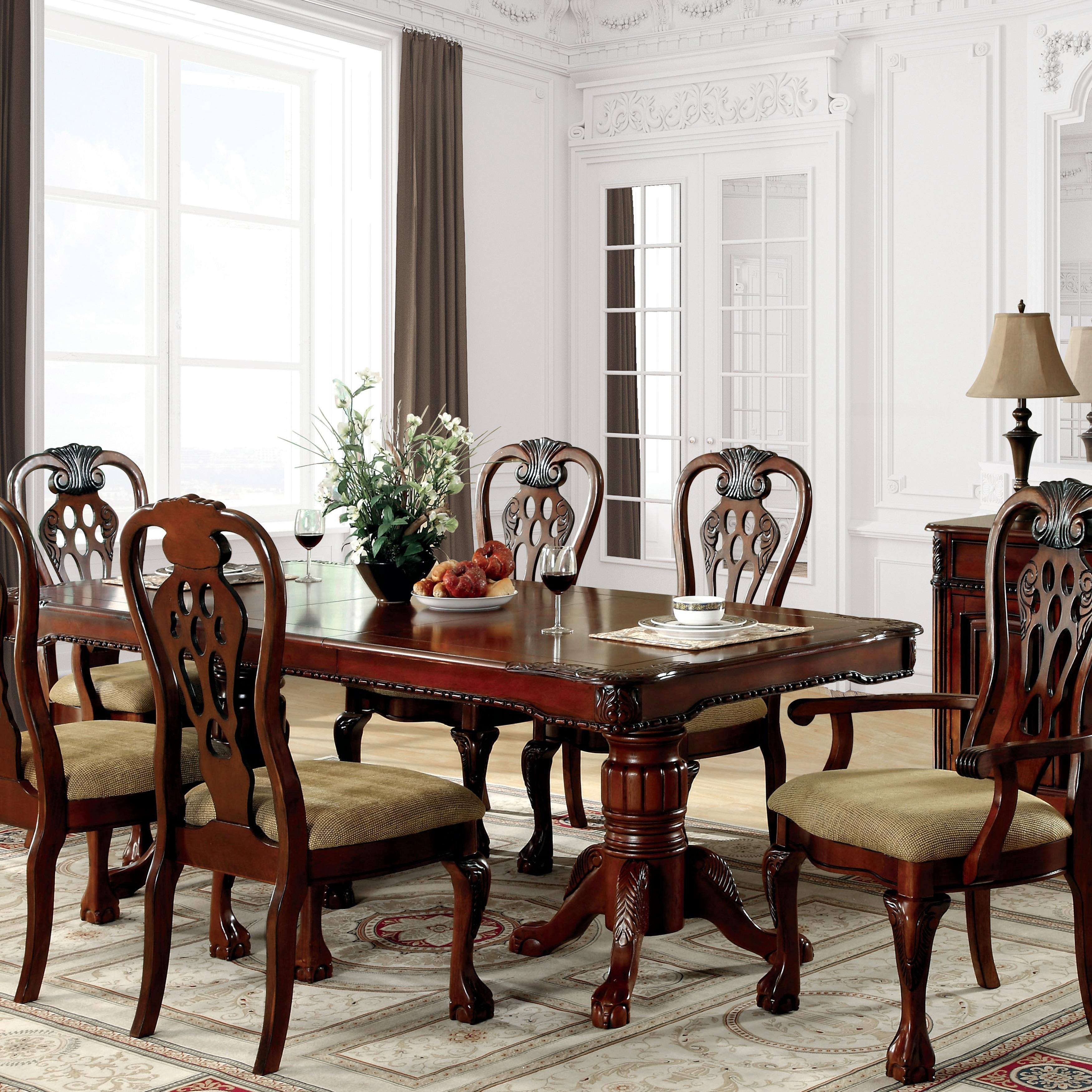 Furniture Of America Harper 7 Piece Formal Cherry Dining Set Overstock 20831060