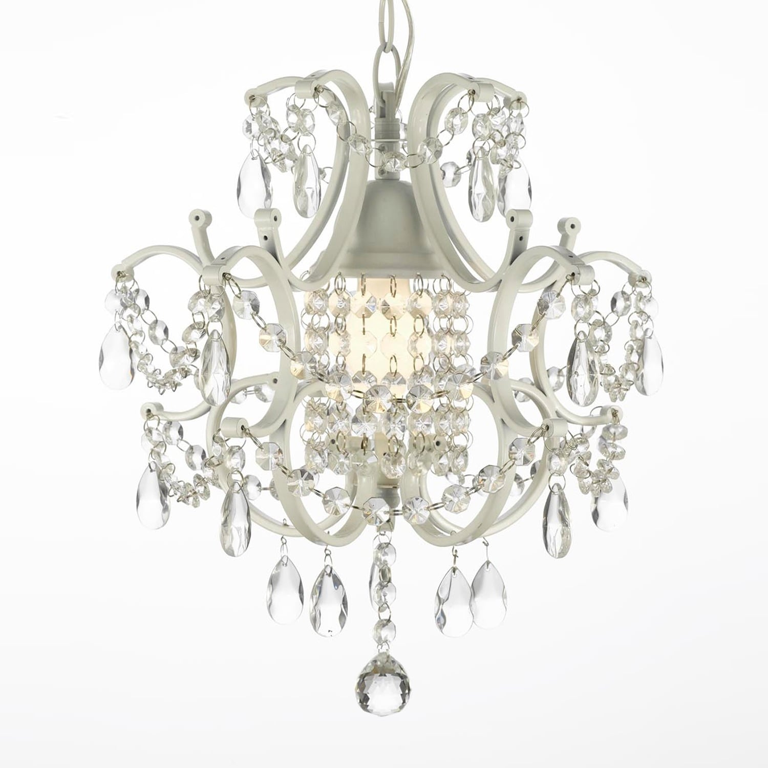 Wrought iron and crystal white chandelier pendant free shipping wrought iron and crystal white chandelier pendant free shipping today overstock 18891015 arubaitofo Gallery