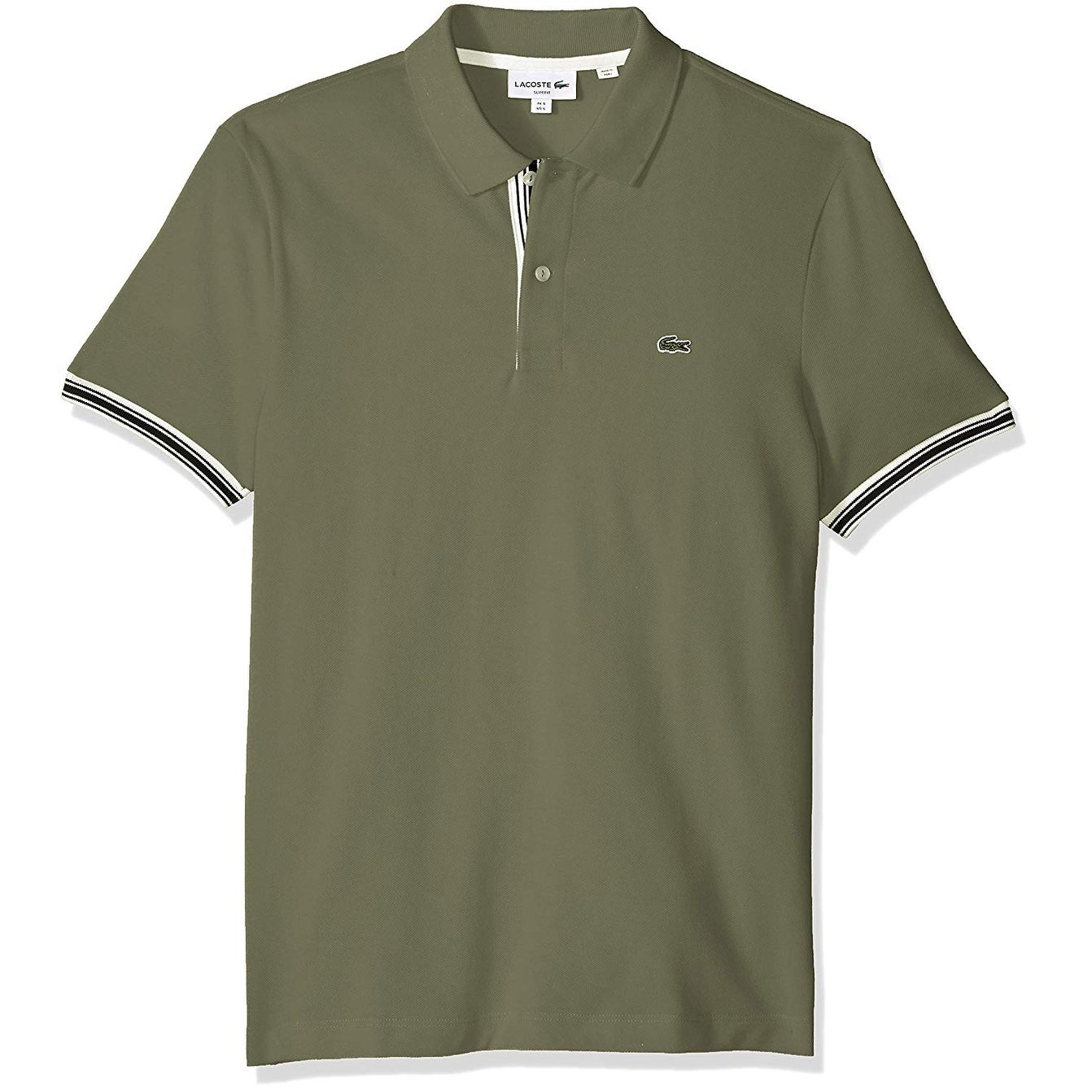 614f98b64d Lacoste Mens Green Size FR 8 US XL Polo Rugby Pique Slim Fit Shirt