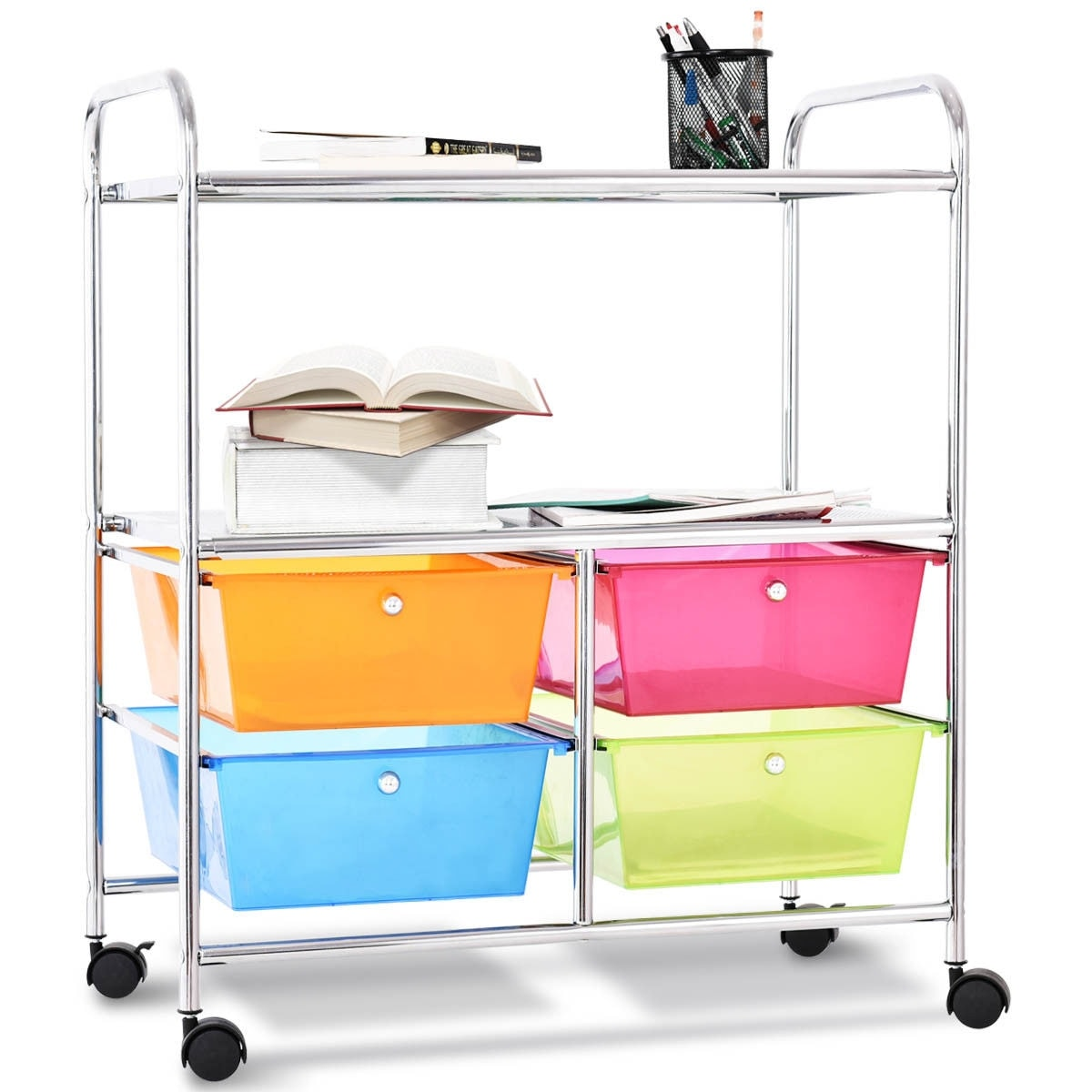 Costway 4 Multifunctional Drawers Rolling Storage Cart Rack Shelves Shelf  Home Office   As Pic