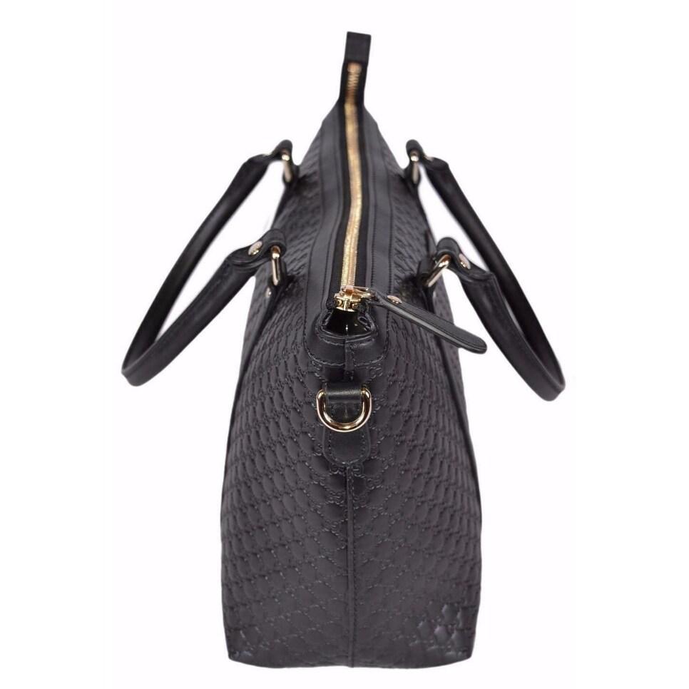95d43f9ff3f Shop Gucci 449656 Black Leather Micro GG Medium Convertible Purse Handbag -  Free Shipping Today - Overstock - 13882316