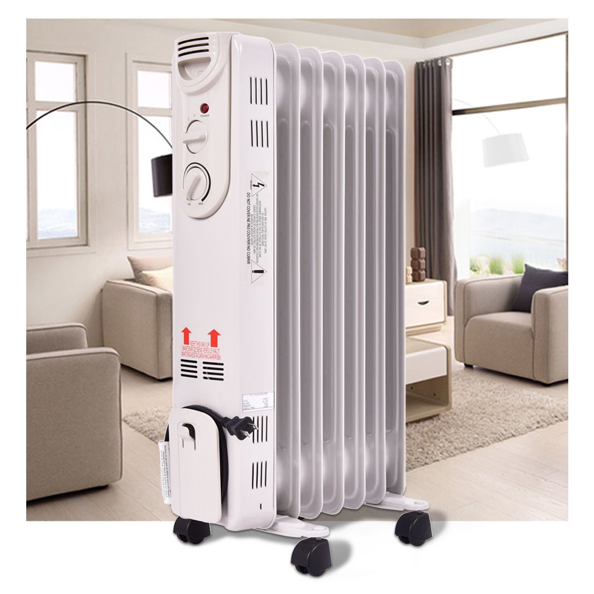 Costway 1500W Electric Oil Filled Radiator Space Heater 5-Fin Thermostat  Room Radiant - Free Shipping Today - Overstock.com - 24358258