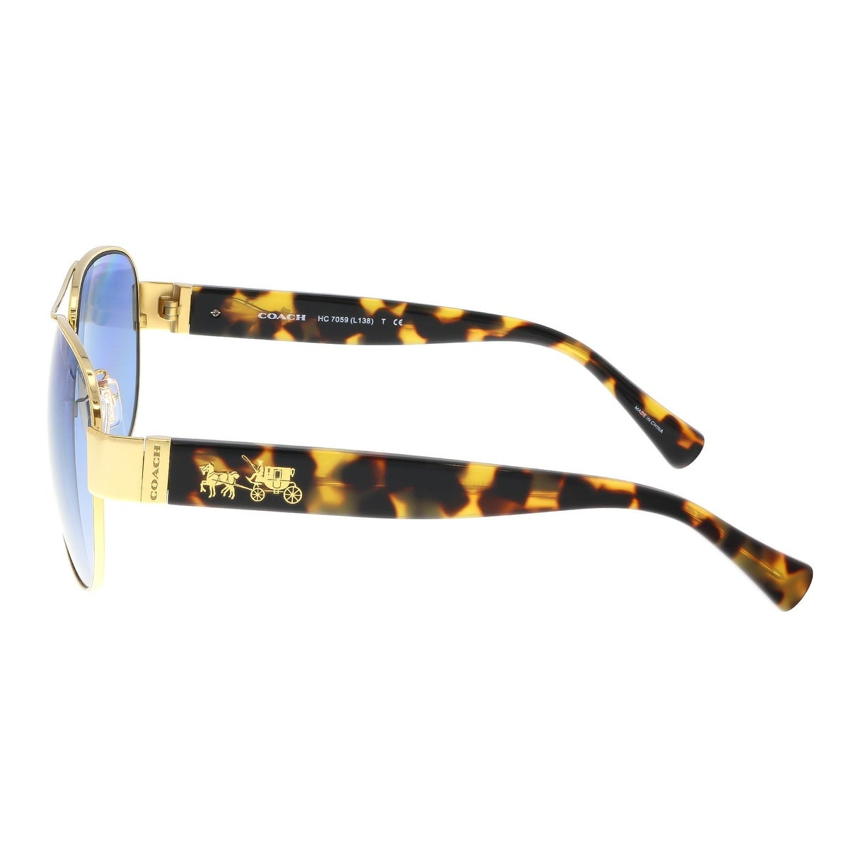 7dc0c3ea59b2 ... clearance shop coach hc7059 92001u gold tokyo tortoise aviator  sunglasses gold tokyo tortoise 58 15 135