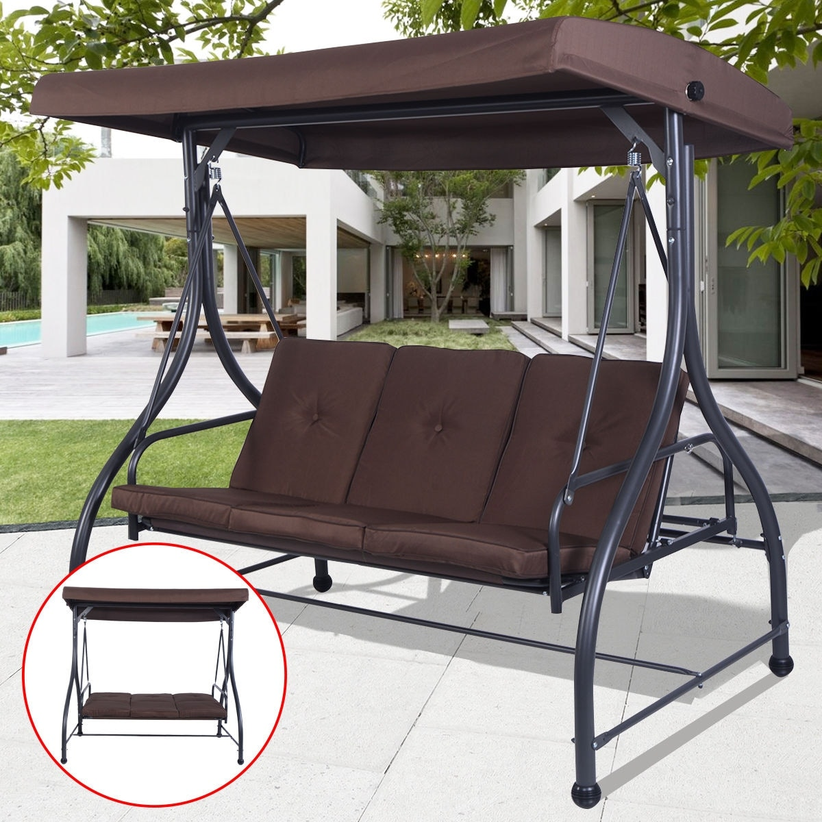 Shop Costway Converting Outdoor Swing Canopy Hammock 3 Seats Patio Deck  Furniture Brown   Free Shipping Today   Overstock.com   15969299