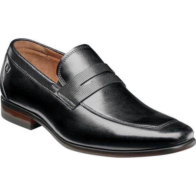 13483095e15 Florsheim Men s Postino Moc Toe Penny Loafer Black Smooth Leather Perf