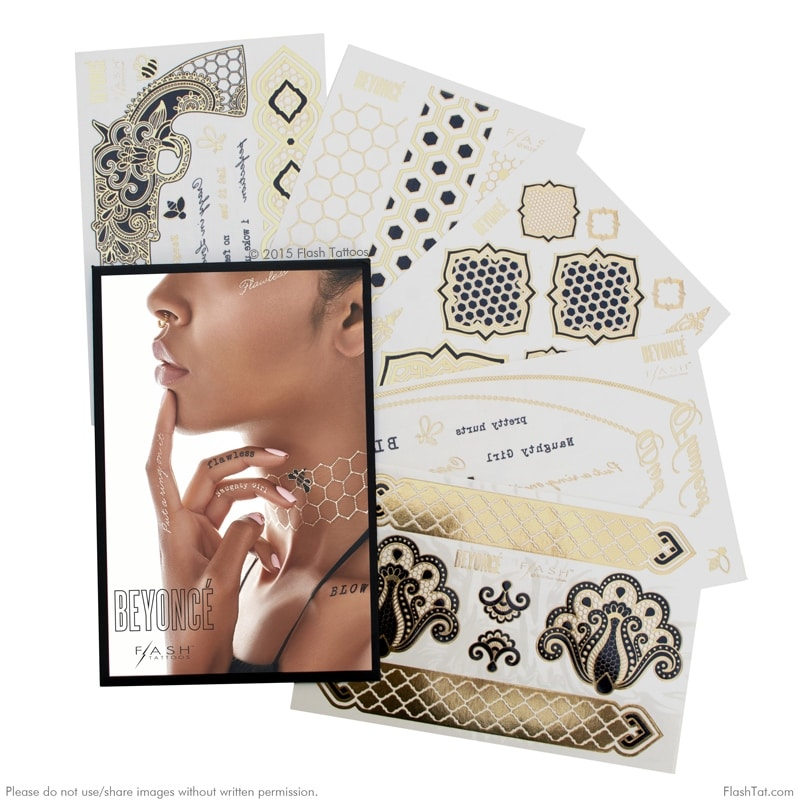 d57585915 Shop Flash Tattoos Beyonce Authentic Metallic Temporary Tattoos 5 Sheet  Pack (gold/black) - Includes Over 56 Premium Tattoos - Free Shipping On  Orders Over ...