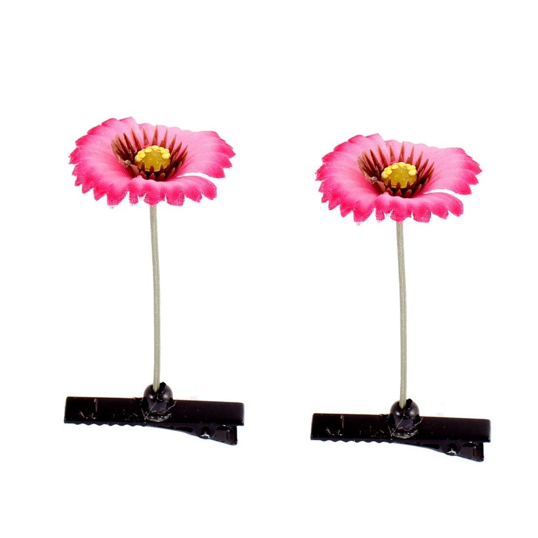 Shop Floral Antenna Hairpin Artificial Fuchsia Flower Hair Clips 2
