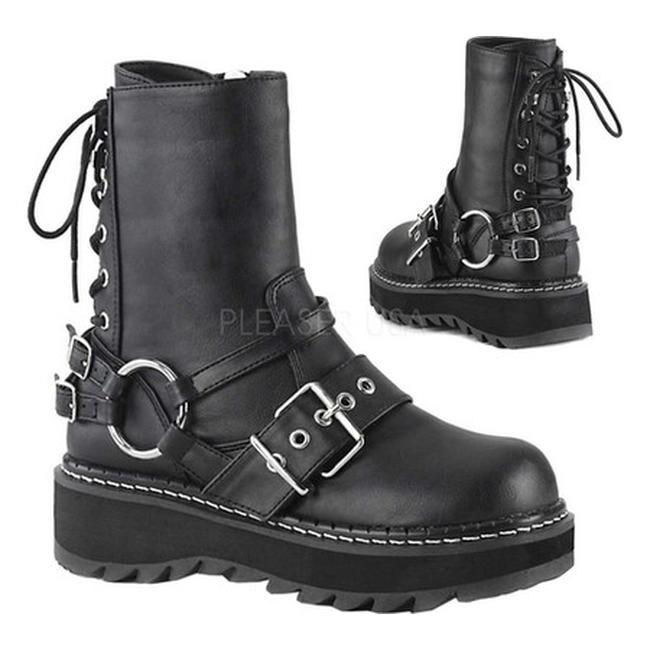 dce7762227d Demonia Women's Lilith Harness Boot Black Vegan Leather