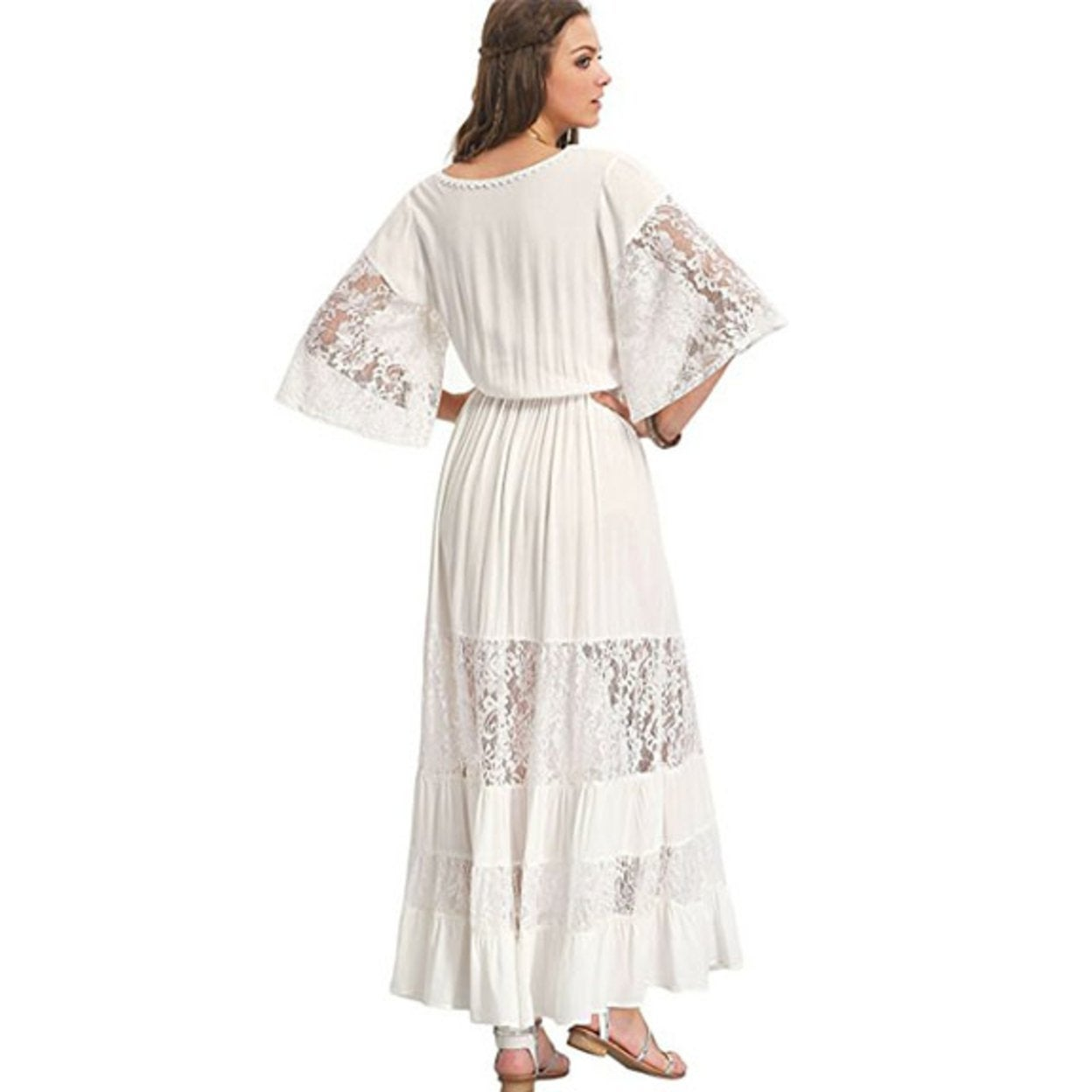 2e9a6297a6e Shop Kentiuttd Women's Bohemian Drawstring Waist Lace Splicing White Long  Maxi Dress - Free Shipping On Orders Over $45 - Overstock - 27110548