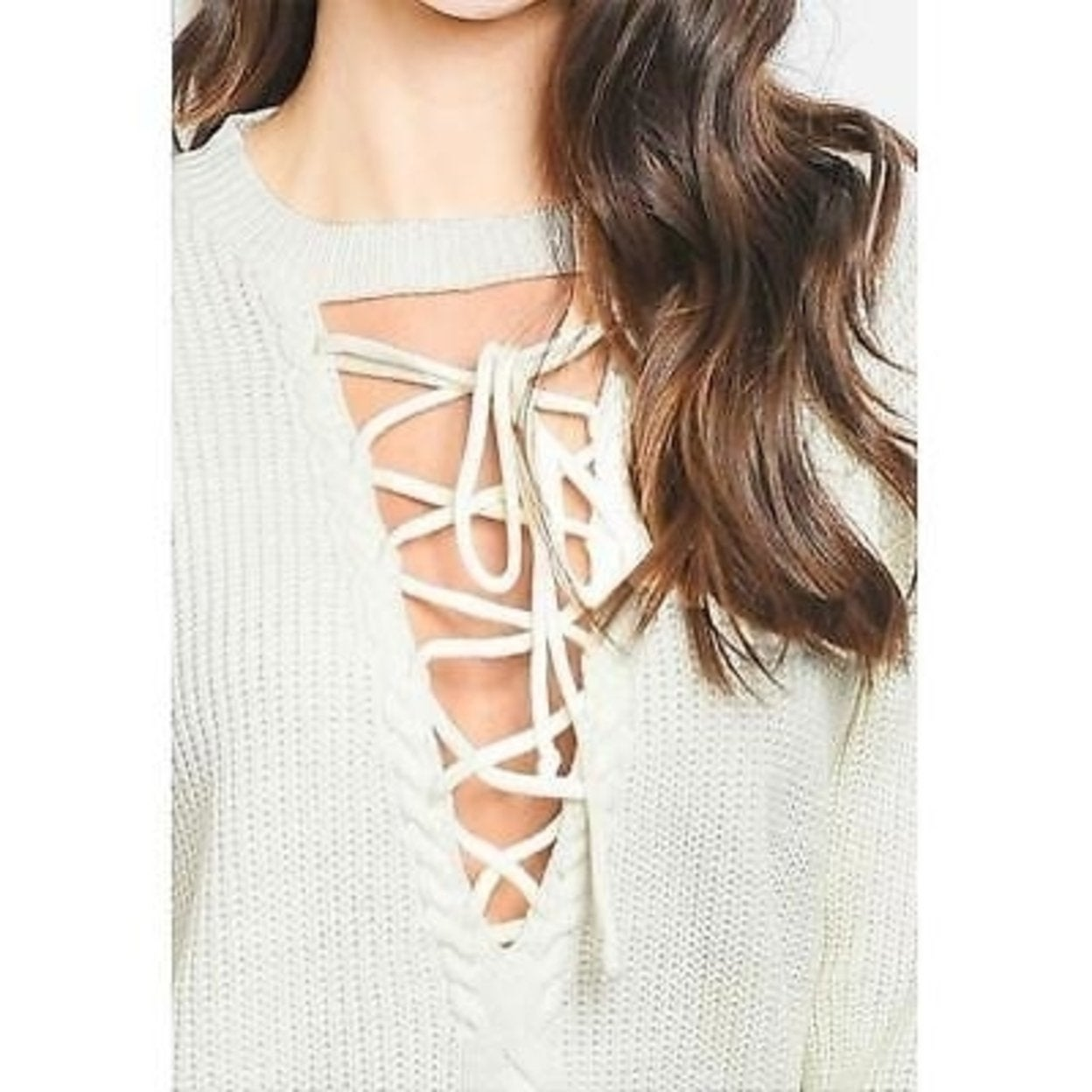 Shop Haute Boho Ivory Gothic Oversized Ribbed Knit hot Lace Up Sweater Top  S M L Xl - Free Shipping Today - Overstock.com - 27404891 6176e6fd0