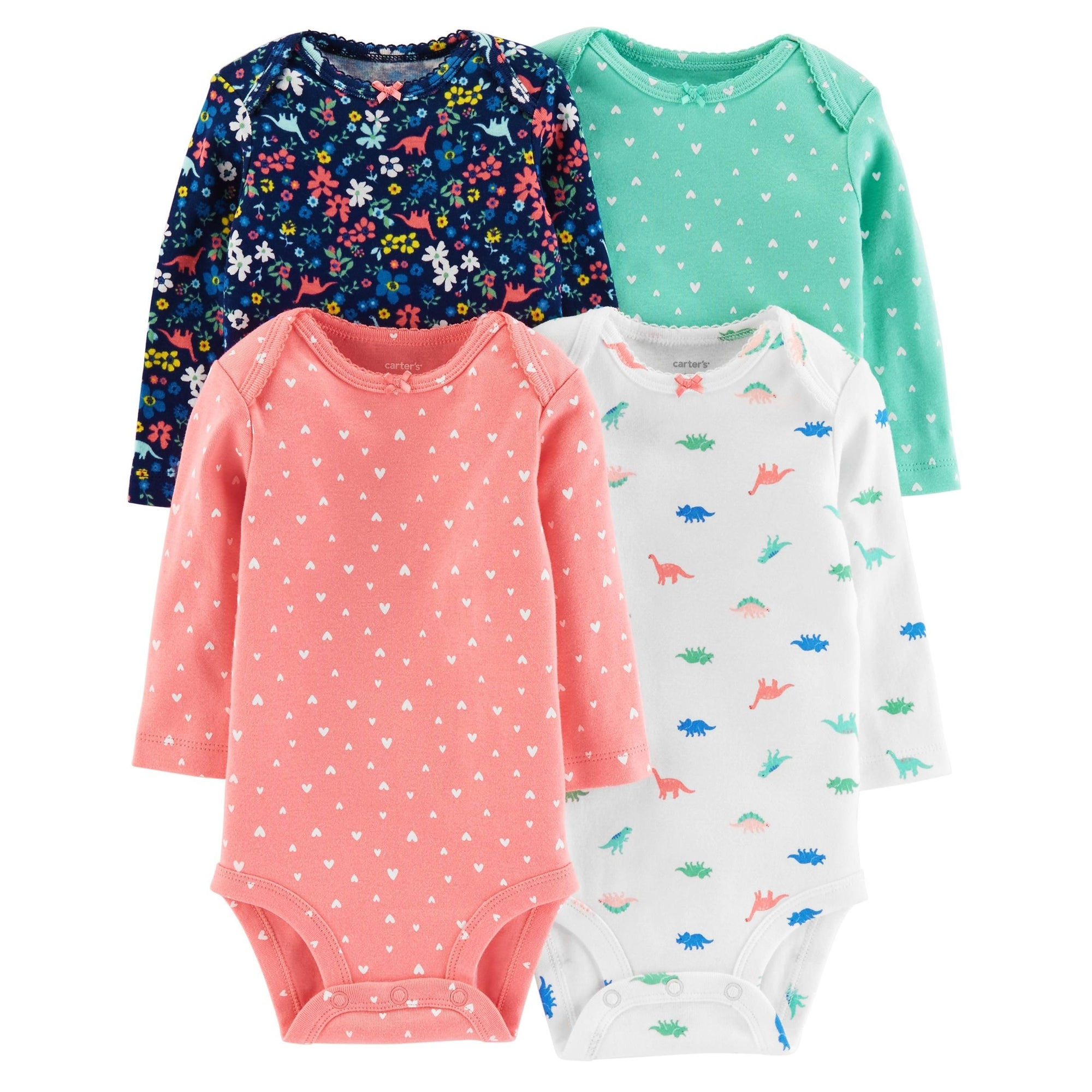 737727a596453 Shop Carter's Baby Girls' Dino Long Sleeve 4 Pack Bodysuits - Free Shipping  On Orders Over $45 - Overstock - 26518036