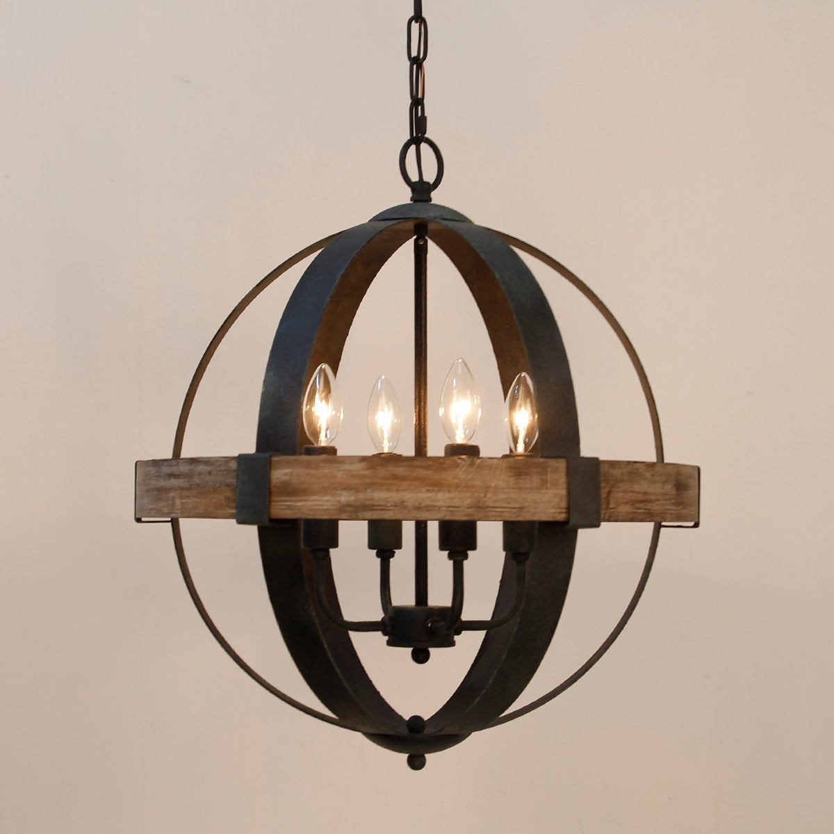 Castello 4 Light Wood Orb Chandelier On Ships To Canada Ca 19455224