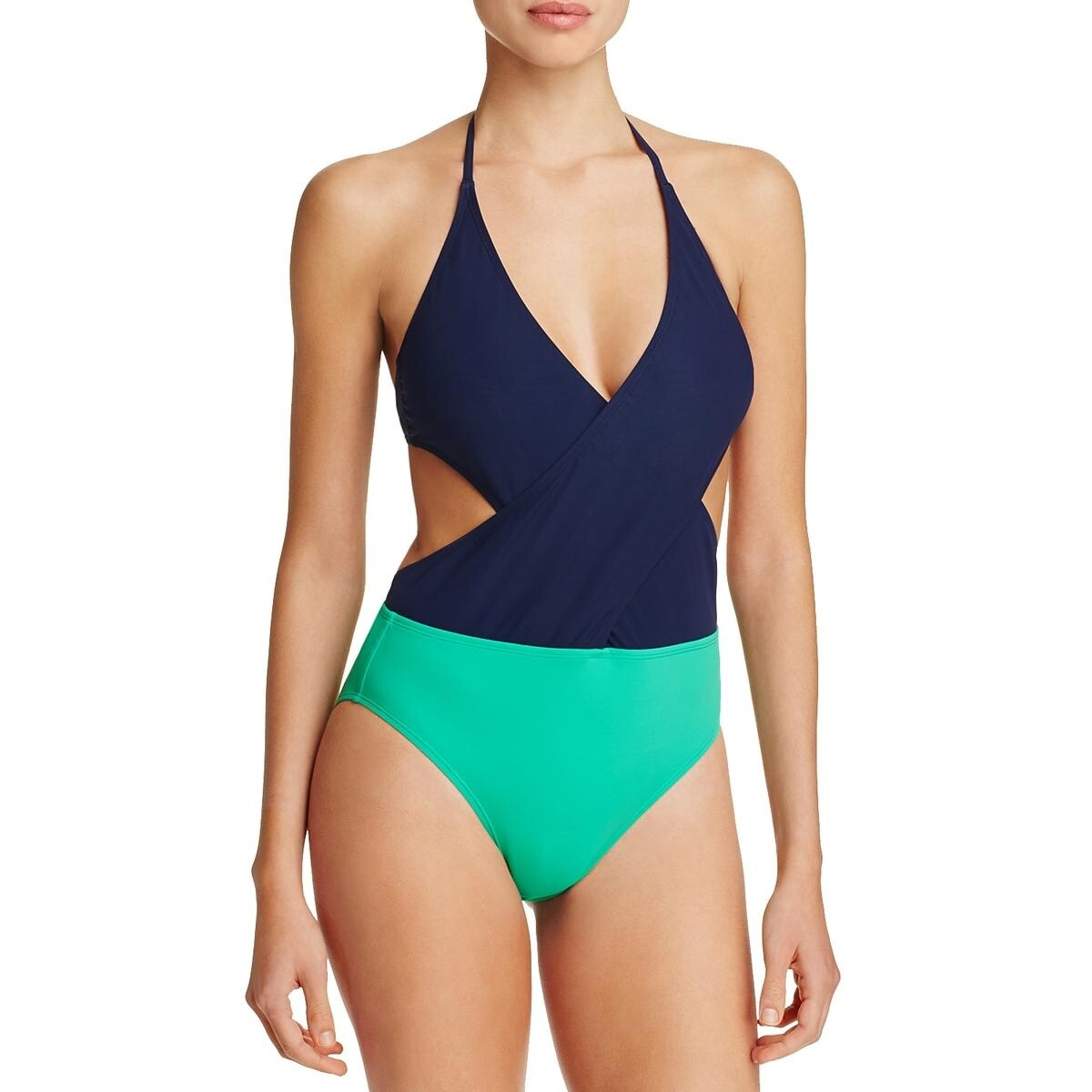 cf57abb738df1 Shop Tory Burch Womens Colorblock Halter One-Piece Swimsuit - Free Shipping  Today - Overstock - 23881909