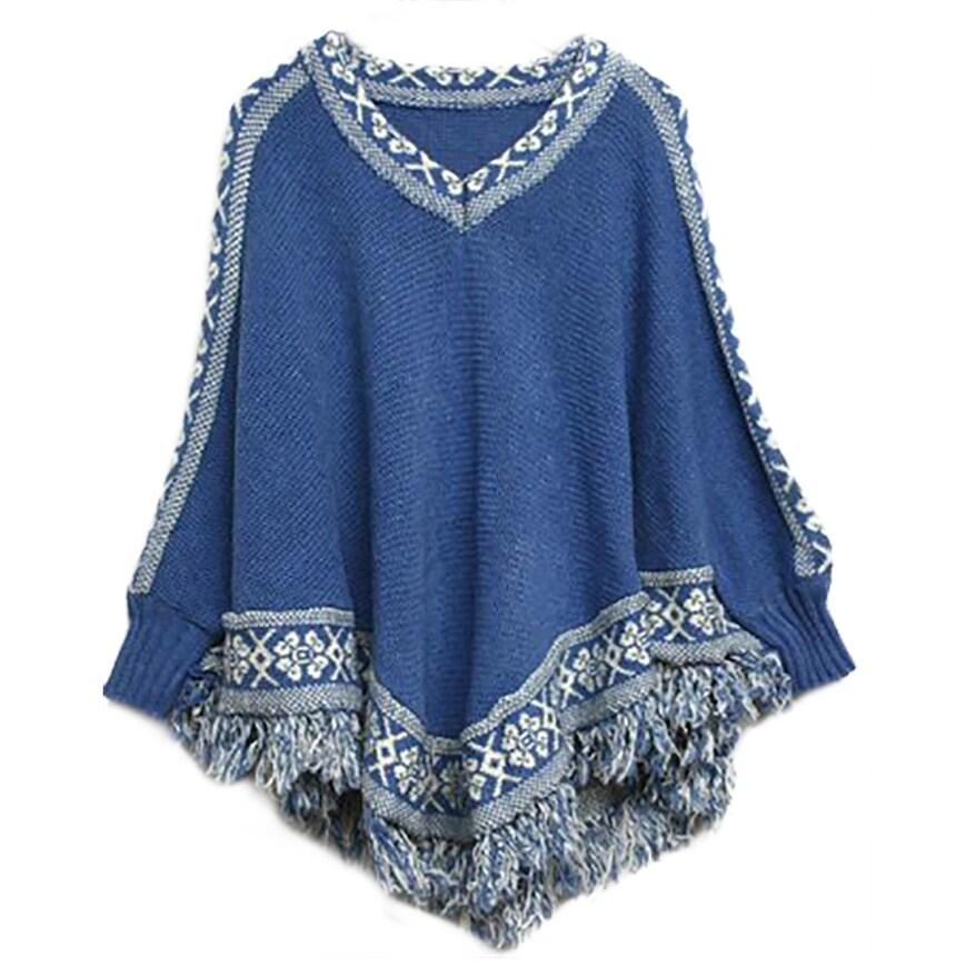Shop Qzunique Womens Batwing Sleeve Knit Poncho Cape V Neck Loose