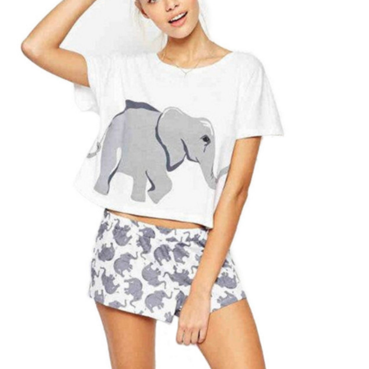fe57700c5971 Shop Casual Women s Short Sleeve Elephant Print T Shirt - Free ...