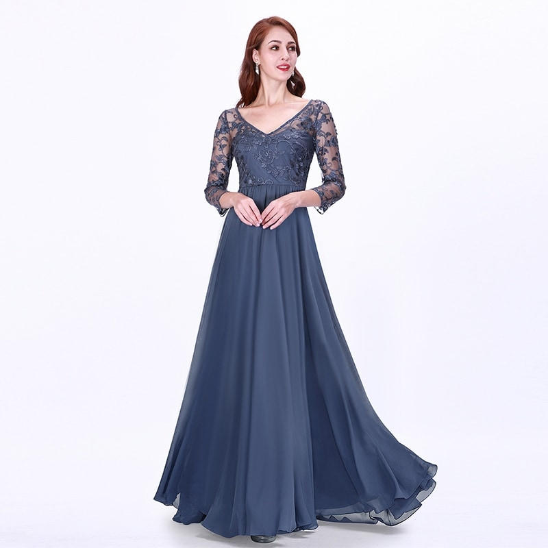 8148d6f2fbc Ever-Pretty Women s Lace Long Sleeve Evening Wedding Party Maxi Dress 07633
