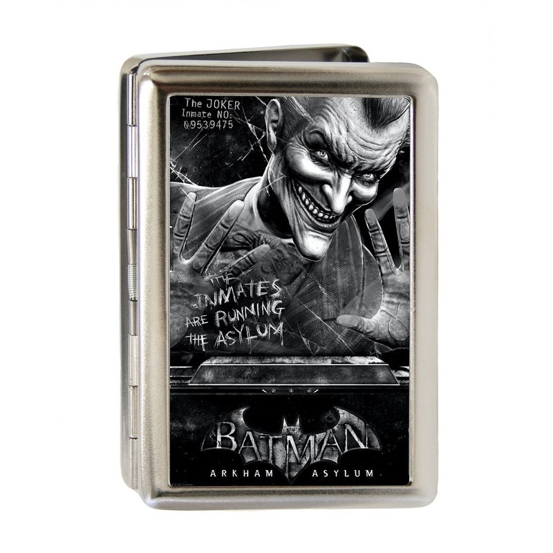 Batman Arkham Asylum Joker Pose Brushed Silver Business Card Holder ...