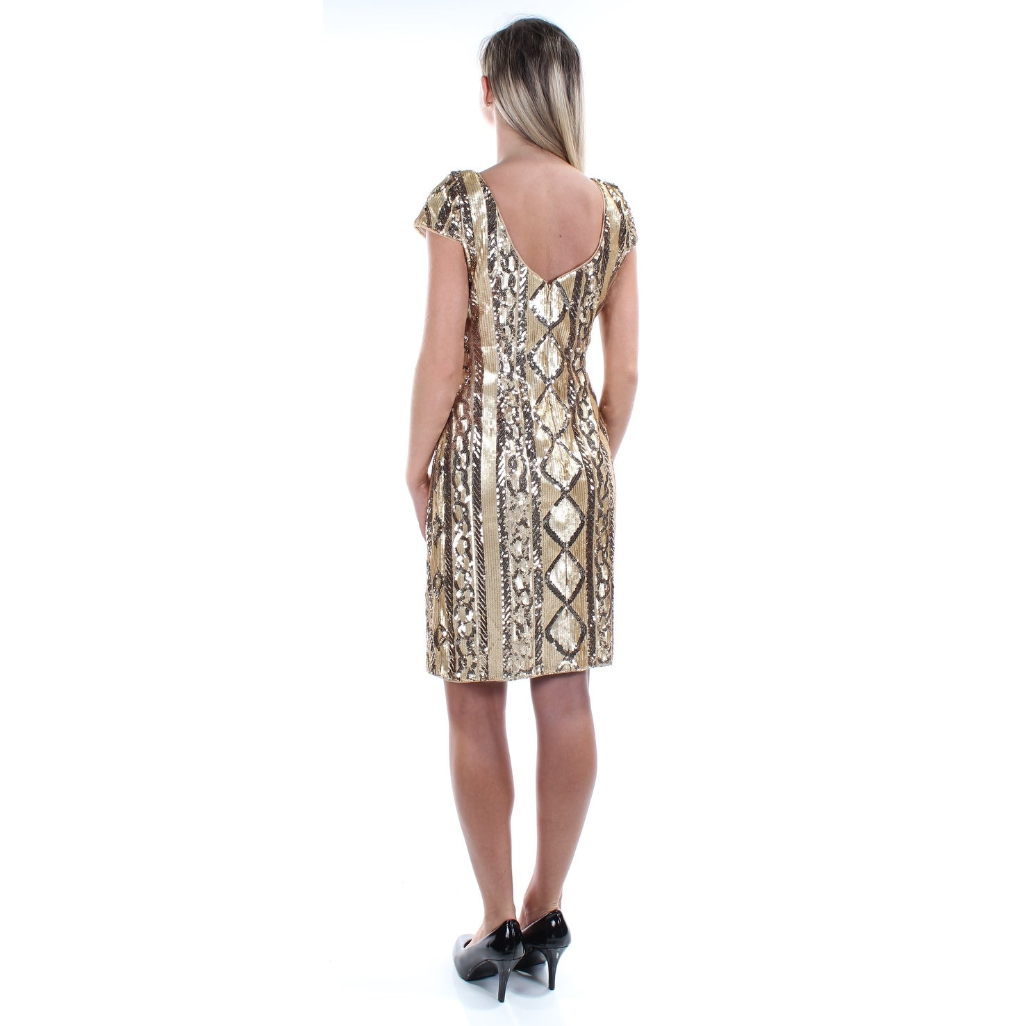 343aecc667b Shop ADRIANNA PAPELL Womens Gold Sequined Cap Sleeve Jewel Neck Above The  Knee Sheath Party Dress Size  2 - Free Shipping On Orders Over  45 -  Overstock - ...