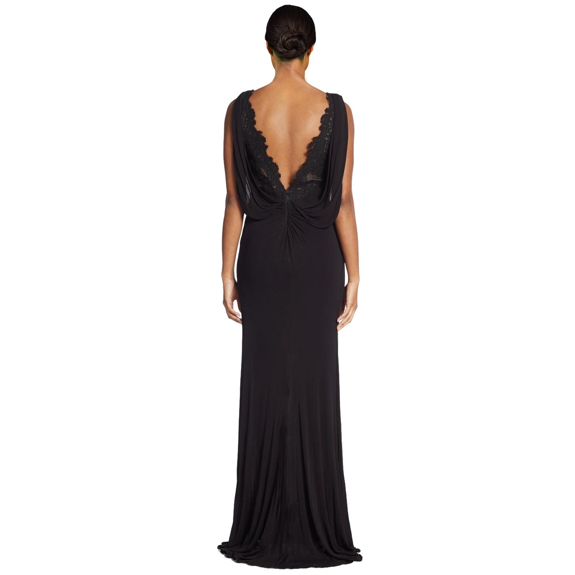 Shop ML Monique Lhuillier Lace Accented Draped Empire Evening Gown ...