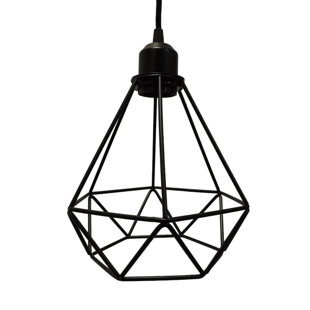 Shop Polygon Diamond Shaped Wire Pendant Light With Black Top, Black ...