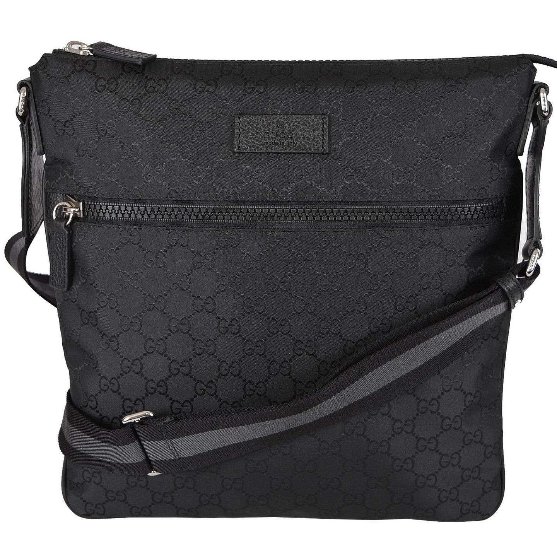 71673826d00dd5 Shop Gucci 449185 Black GG Guccissima Web Trim Crossbody Messenger Purse Bag  - Free Shipping Today - Overstock - 13218812