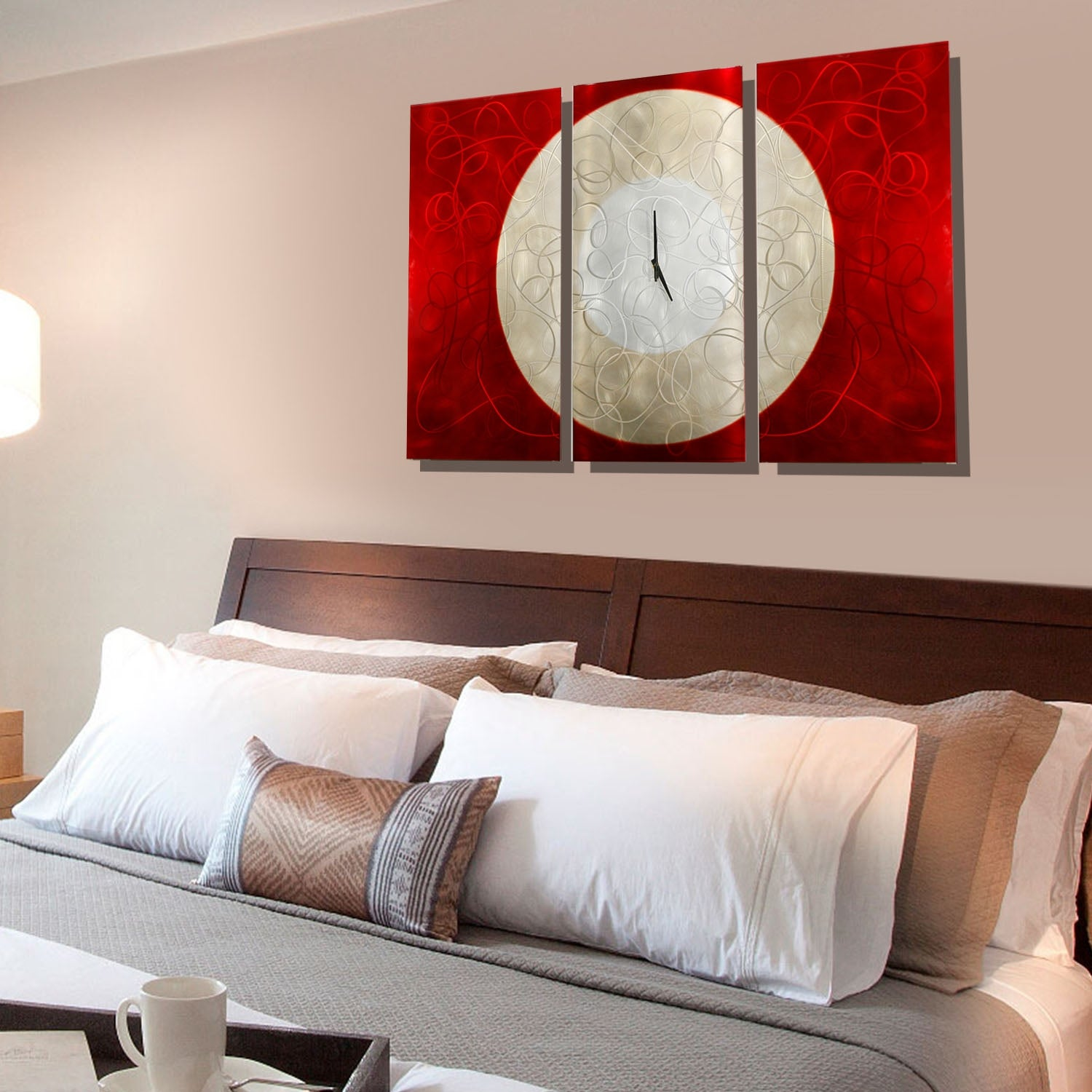 Statements2000 Red Silver 38 Inch Metal Panel Wall Clock Burning Moon N A Free Shipping Today 25425447