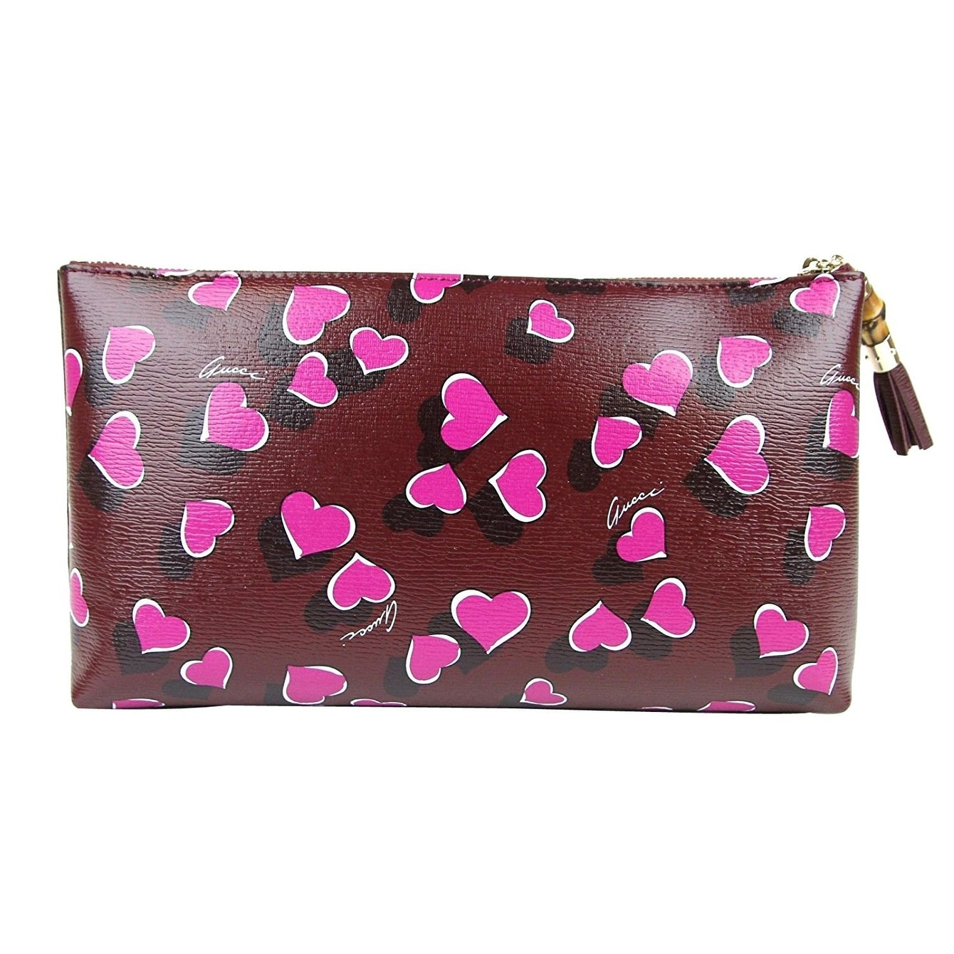 49d670959 Shop Gucci Bamboo Heartbeat Burgundy Leather Large Pouch Clutch Bag 338815  5009 - One size - Free Shipping Today - Overstock - 27603219