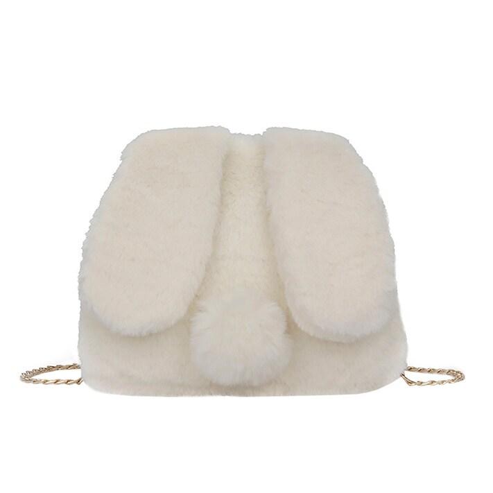c7f2265f081 QZUnique Women s Faux Fur Bunny Ears Chain Shoulder Handbag Plush Crossbody  Purse Bag