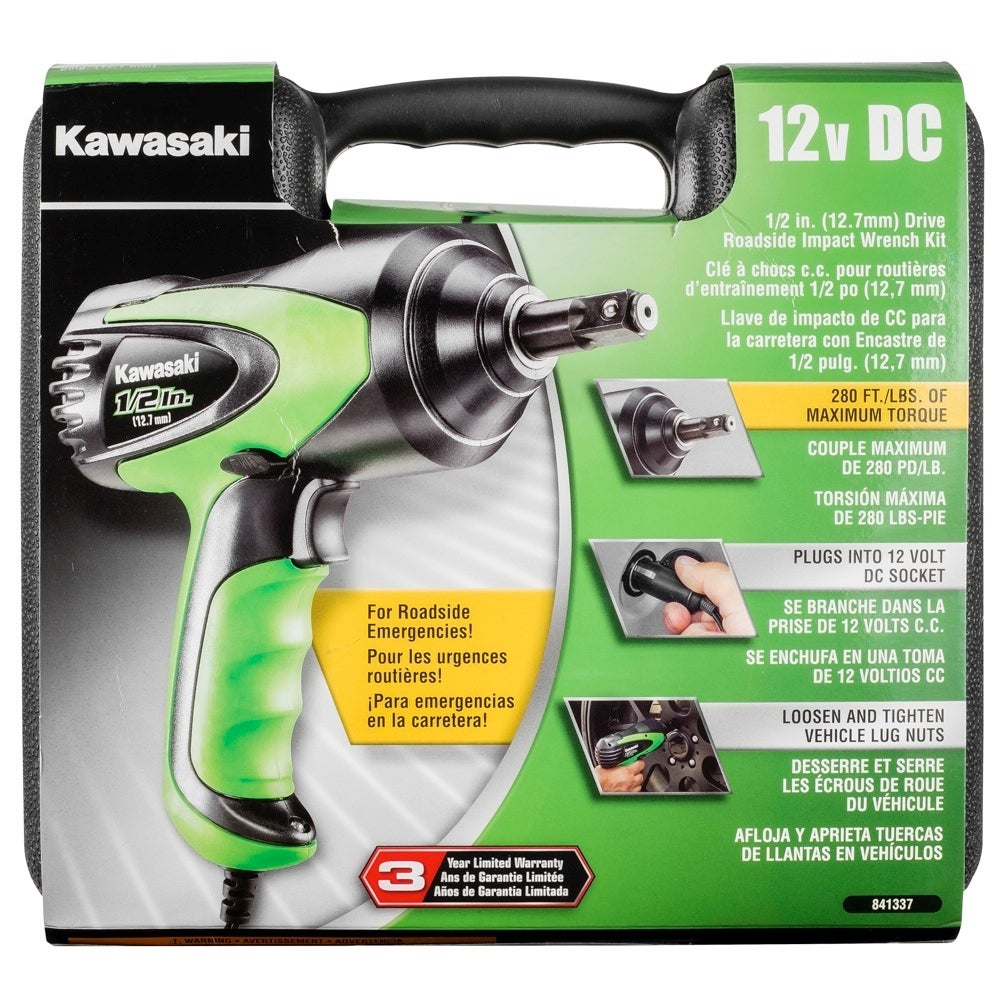 Kawasaki 12 Volt Impact Wrench With 2 Lug Socket Cigarette Lighter Free Shipping Today 15615258