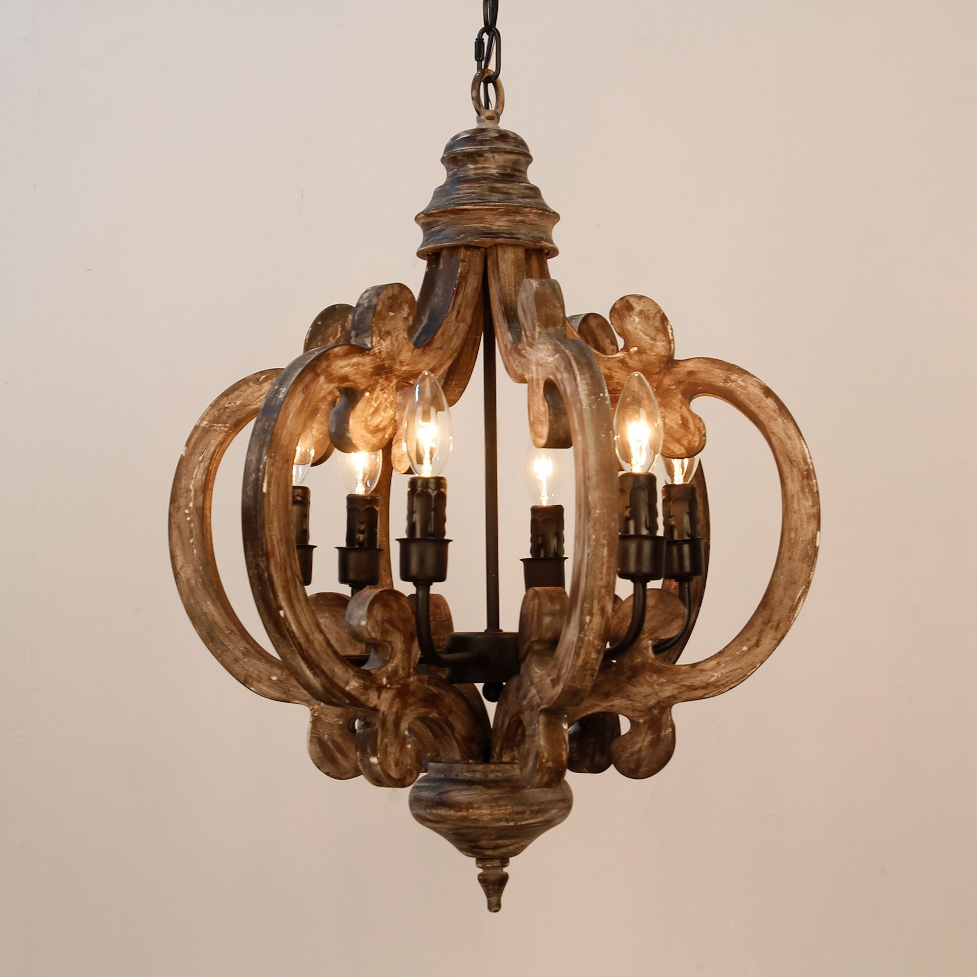Distressed Antique White 6 Light Wood Chandelier Free Shipping