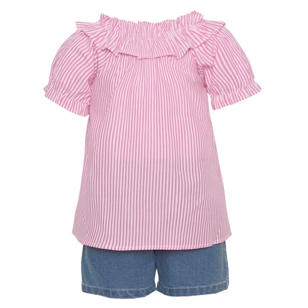7845be43b4d5 Shop Little Girls Pink Striped Short Sleeve Shirt 2 Pc Denim Shorts Outfit  - Free Shipping On Orders Over  45 - Overstock - 25542327
