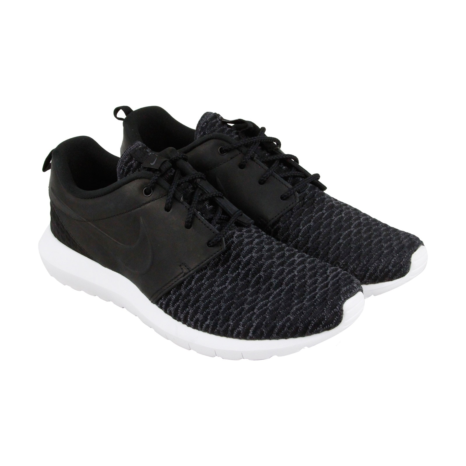 004cd51f0613a ... discount shop nike roshe nm flyknit prm mens black leather textile  athletic running shoes free shipping